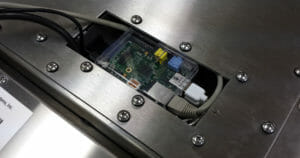 Raspberry Pi inside the touch screen cable cavity
