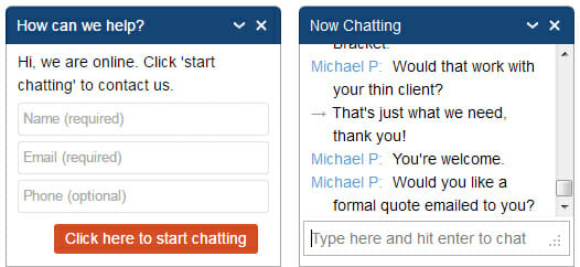 New Online Chat Box on Website allows customers to chat directly with Hope Industrial