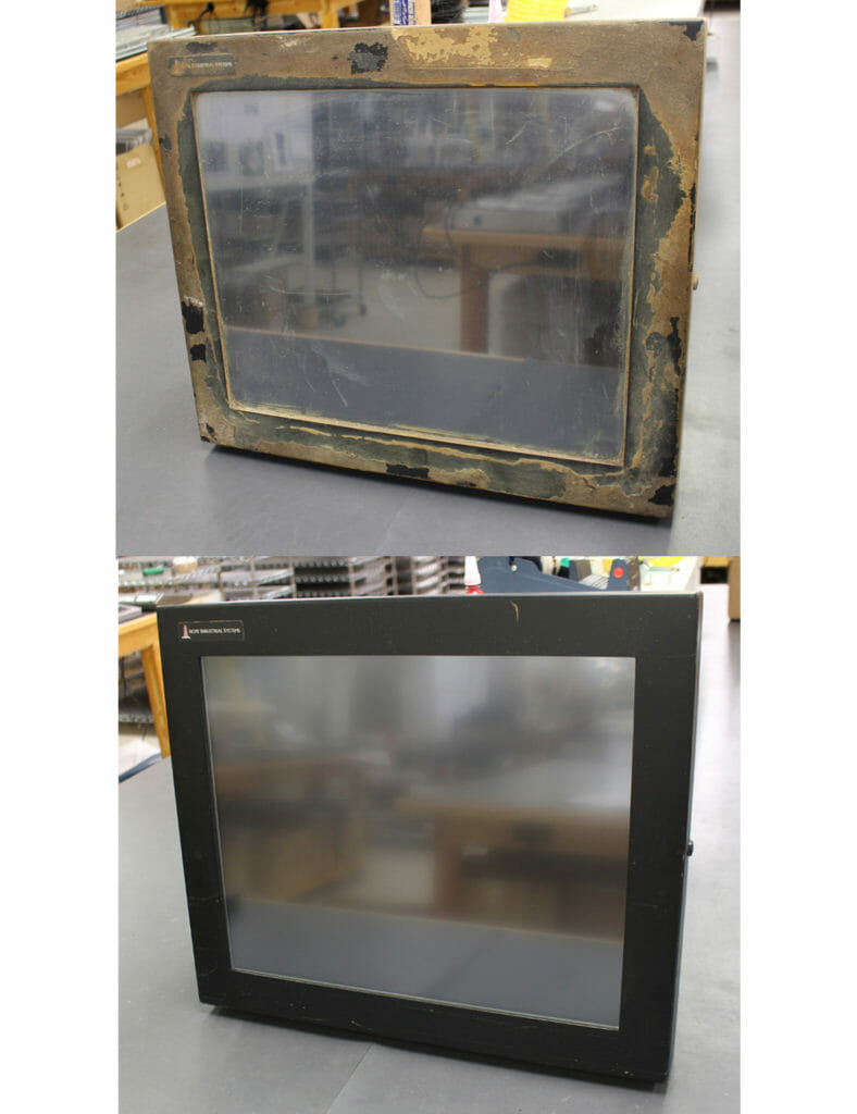 "Universal Mount Monitor with food ingredients caked on the enclosure was returned to us to repair a broken window. We replaced the touch sensor and returned the monitor to ""like new"" condition for many more years of service."