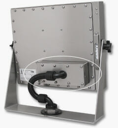 Rear-Mount Industrial KVM Extender mounted to Universal Mount Monitor