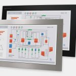 """23"""" Widescreen Panel Mount Industrial Monitors and IP65/IP66 Rugged Touch Screens, front and side views"""