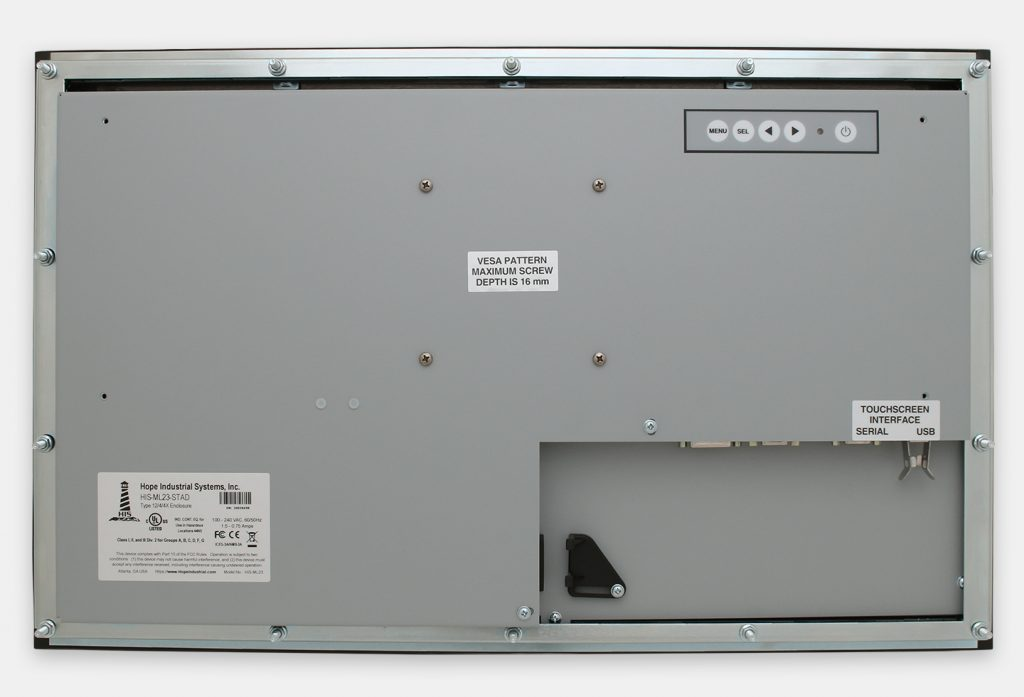 """23"""" Widescreen Panel Mount Industrial Monitors and IP65/IP66 Rugged Touch Screens, rear view"""