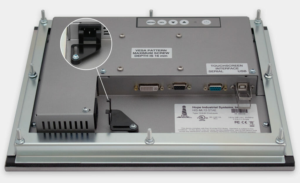 """12"""" Panel Mount Industrial Monitors and IP65/IP66 Rugged Touch Screens, AC cable exit view"""