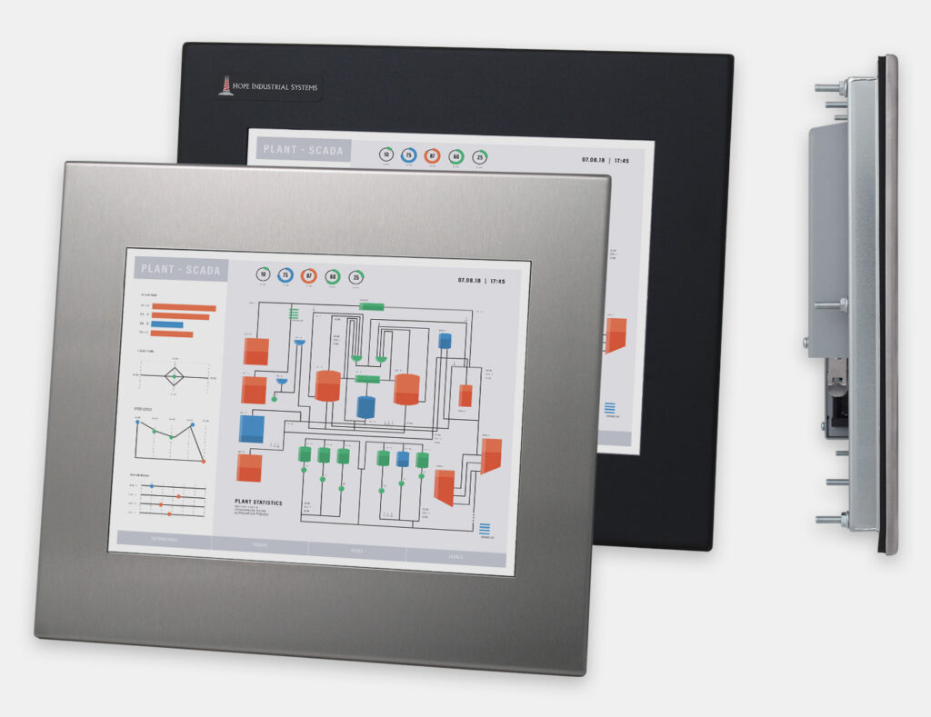 """12"""" Panel Mount Industrial Monitors and IP65/IP66 Rugged Touch Screens, front and side views"""