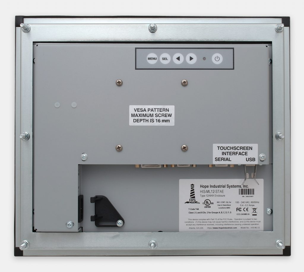 """12"""" Panel Mount Industrial Monitors and IP65/IP66 Rugged Touch Screens, rear view"""