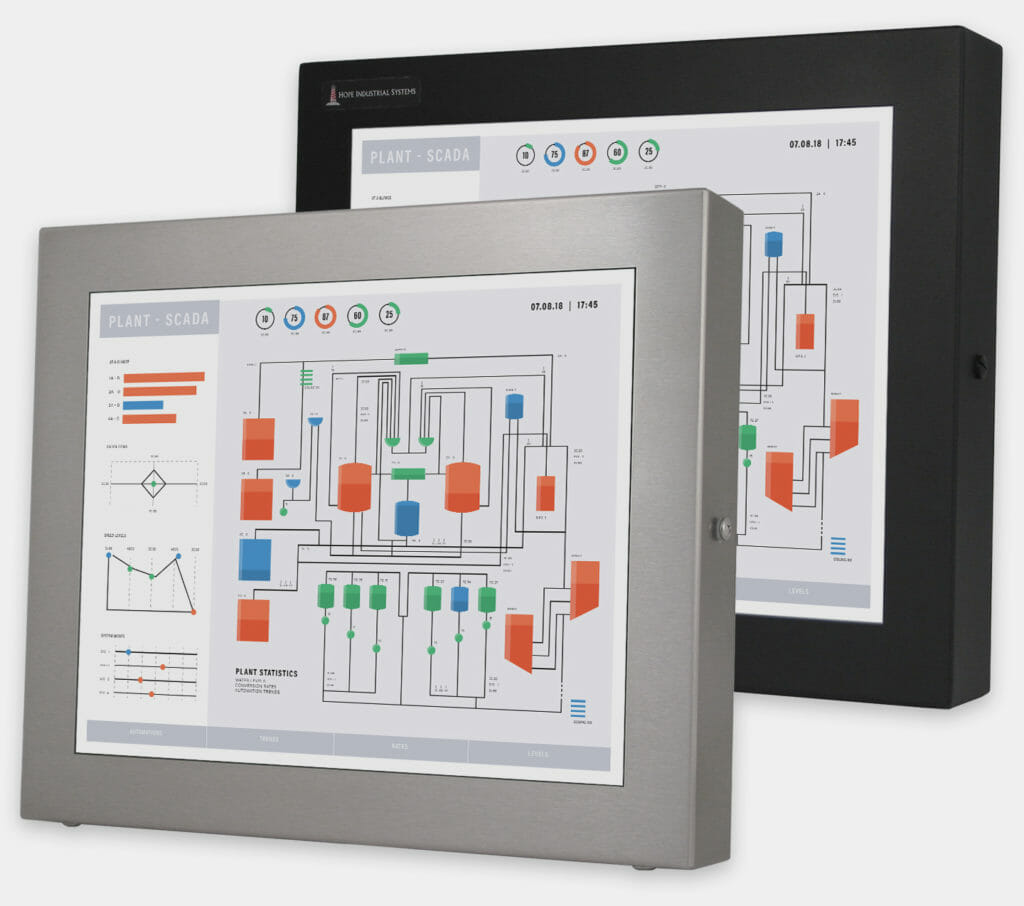 "17"" Universal Mount Industrial Monitors and IP65/IP66 Rugged Touch Screens, front view"