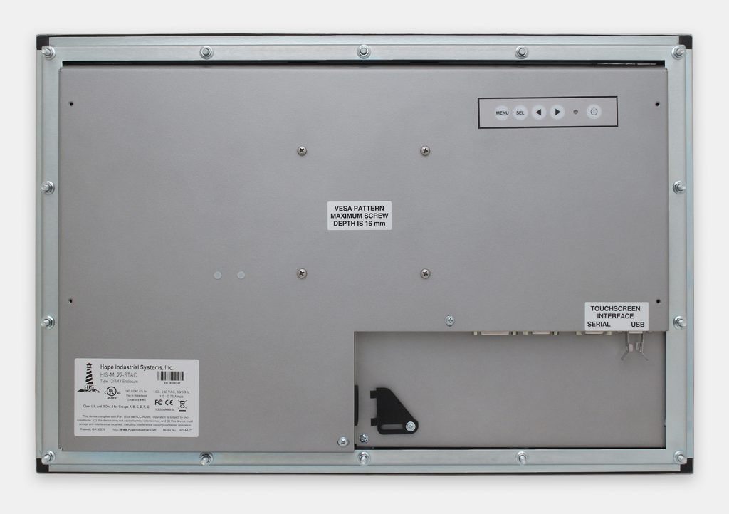 "22"" Widescreen Panel Mount Industrial Monitors and IP65/IP66 Rugged Touch Screens, rear view"