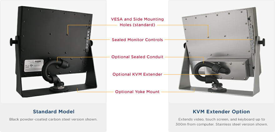 "Rear views of IP65/IP66 Rated 17"" Universal Mount Monitors showing Industrial Enclosure features and options"