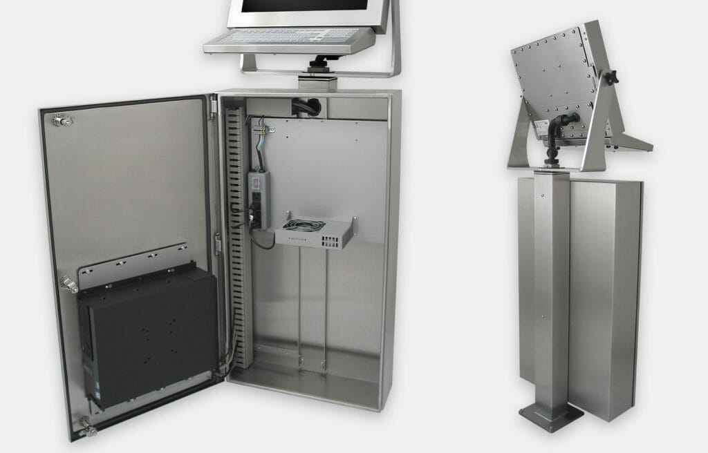 Industrial Enclosure for Commercial / Industrial PCs, close-up with generic fan kit, inside and rear view